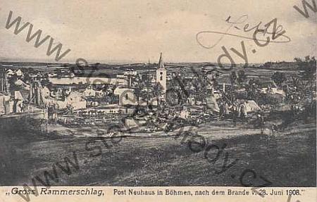 Stará pohlednice Velkého Ratmírova z roku 1908, po požáru obce