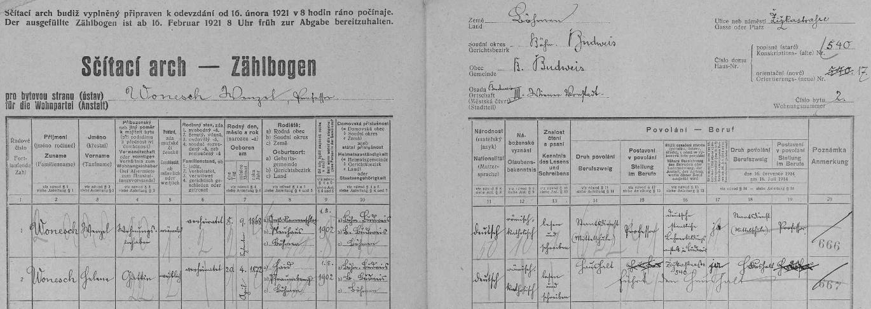 Arch sčítání lidu z roku 1921 pro dům čp. 540/17 v Žižkově ulici, kde žil se svou ženou Helenou (*20. dubna 1872 vBoru, dnešní okres Tachov)
