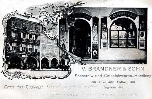 Pohlednice obchodu Vinzenze Brandnera