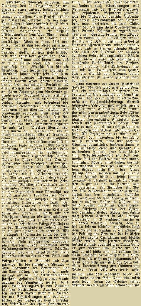 Obsáhlý nekrolog v českobudějovickém německém listě