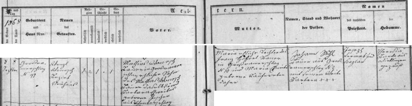 Záznam o jeho narození ve Velkém Ratmírově v křestní matrice farní obce Lodhéřov