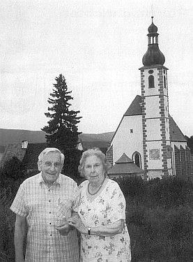 S manželem Brunem o diamantové svatbě vKájově roku 1999