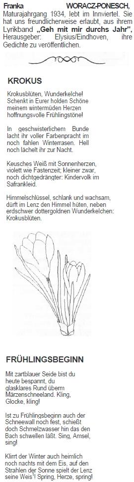 Dvě její básně z časopisu někdejších absolventů vídeňského gymnázia, na němž maturovala vroce1934