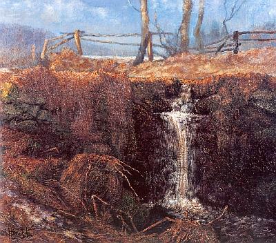 Potok u Srní na malbě Miroslava Houště z roku 2001
