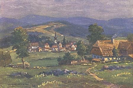 """""""Malovaná"""" pohlednice Srní z roku 1948"""