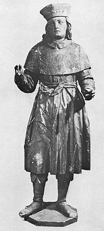 Svatý Václav v jeho dřevěné plastice 154cm vysoké ze sbírek Jihočeského muzea