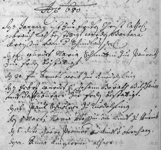 """Úvodní zápisy roku 1680 i se záznamem o jeho úmrtí v knize zemřelých města Aigen - příjmení je uvedeno ještě ve tvaru Borath, později bylo """"B"""" opraveno na """"W"""""""