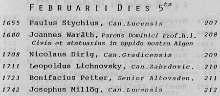 Takto uvádí jej uvádí Isidor H. Pichler ve svém soupisu zemřelých v klášteře Schlägl v letech 1630-1800