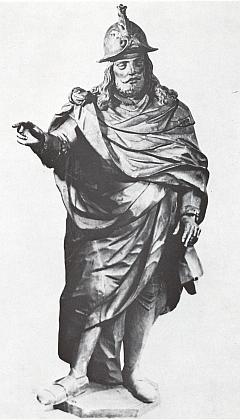 Jeho socha sv. Auraciána z doby kolem roku 1665 ze sbírek Jihočeského muzea     v Českých Budějovicích (roku 1665 slavilo město 400 let od svého vzniku)
