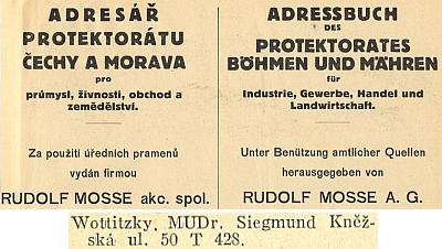 Ještě na stránkách adresáře protektorátu Čechy a Morava z roku 1939 je uveden v seznamu českobudějovických lékařů