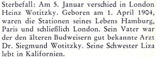 Zpráva o úmrtí jeho syna Heinze (*1. dubna 1904) dne 9. ledna roku 1980 v Londýně (sestra Liza žije podle závěru textu v USA) na stránkách krajanského měsíčníku