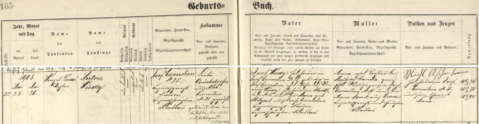Záznam železnorudské křestní matriky o narození Antona Wudyho s přípisem o jeho pozdější svatbě