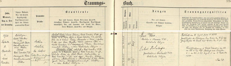 Záznam o svatbě rodičů v železnorudské oddací matrice