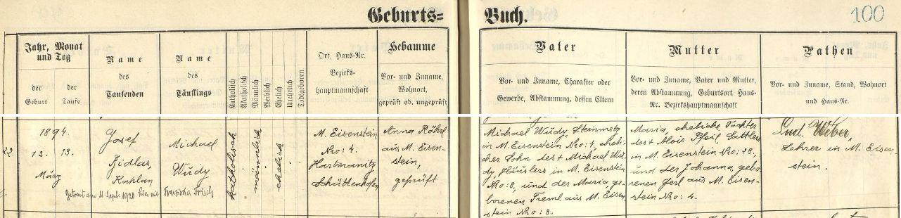 Záznam o narození otcově v železnorudské matrice s pozdějším přípisem o jeho svatbě v září roku 1920