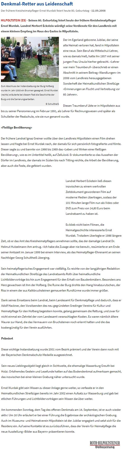 Text k jeho osmdesátinám v bavorském regionálním tisku