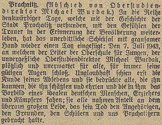 Úvodní odstavec jeho nekrologu včeskobudějovickém německém listu