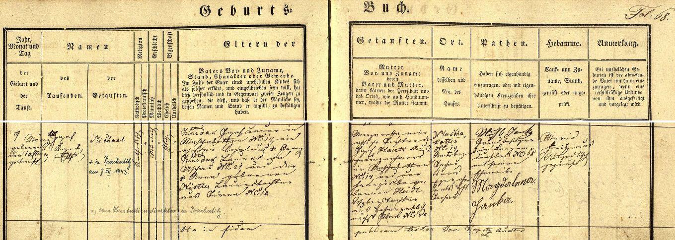 Záznam o jeho narození v křestní matrice farní obce Staré Sedliště