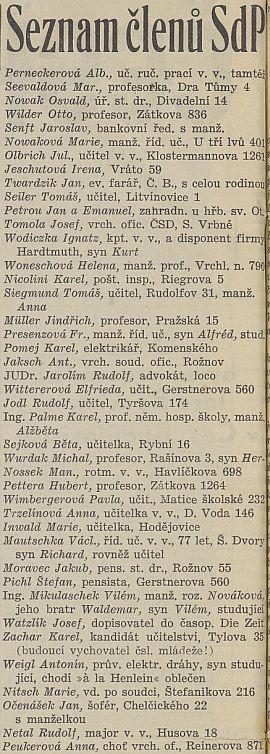 """Na tomto seznamu členů Henleinovy Sudetoněmecké strany, zveřejněném v listě""""Českobudějovické noviny"""" v létě osudového roku 1938, figuruje i on, stejně jako Otto Wilder, """"Jaroslav"""" Senft (otec Haro Senfta), """"Jan"""" Twardzik, Ignatz Wodiczka, manželka prof. Wenzela Wonesche či """"Václav"""" Mautschka, otec Hanse Mautschky"""