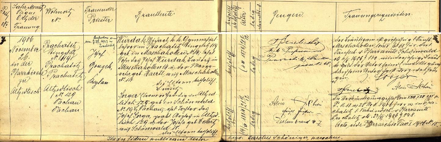 Záznam oddací matriky farní obce Staré Sedliště z 26. listopadu roku 1906 o jeho zdejší svatbě s Eleonore Hedwig Sorgerovou, dcerou místního lékaře Josefa Sorgera a Josefy, roz. Eckertové z Lesné (Schönwald) čp. 18