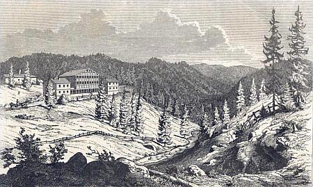Vilémovský zámeček, postavený v letech 1842-1843, na rytině Eduarda Herolda