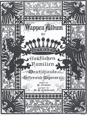 Obálka (1890) knihy hraběcích erbů, kde je zastoupen i jeho rod