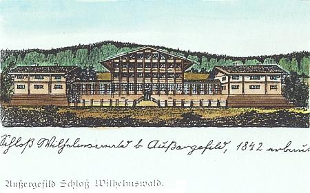 Stará pohlednice z roku 1899 je jen kolorovanou podobou předchozí skici