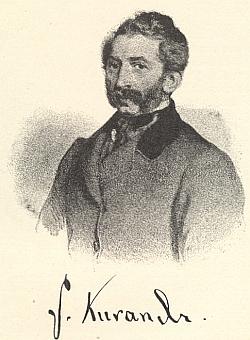 "Ignaz Kuranda, vydavatel listu Grenzbote (1841-1848) kam Wilhelm von Wurmbrand-Stuppach rovněž přispíval, na videňské litografii Eduarda Kaisera ""podle přírody"" zroku 1861"