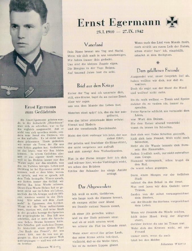 """Stránka z časopisu """"Oberdonau"""" s jeho textem a básní věnovanou Ernstu Egermannovi"""