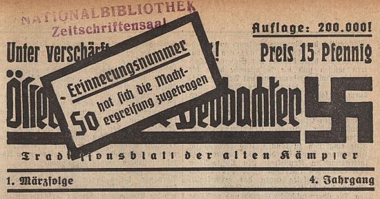 """Jeho báseň v rakouském nacistickém měsíčníku k 1. výročí """"anšlusu"""""""