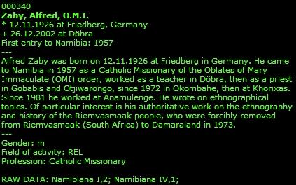 O něm v životopisech namibijských osobností