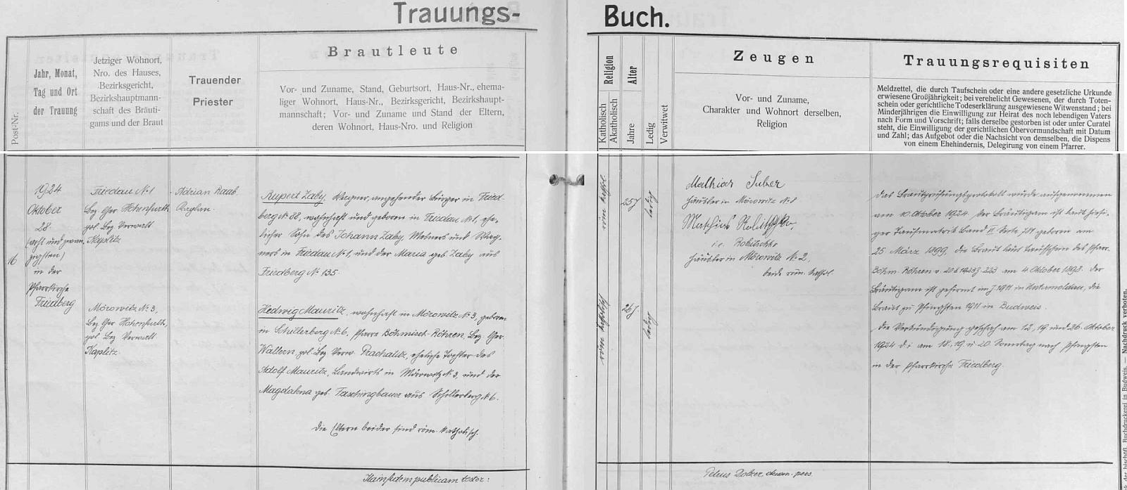 Záznam o svatbě jeho rodičů ve frymburské oddací matrice (zapsal jej Petrus Dolzer)