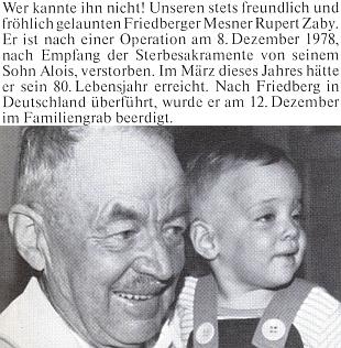 Zpráva o úmrtí jeho tce, frymburského kostelníka Ruperta Zabyho, na stránkách krajanského časopisu