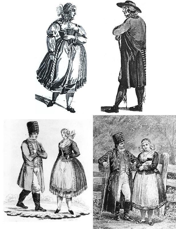 Několik Buquoyových obrázků lidových krojů z knihy, kterou Oskar von Zaborsky hledal a z nichž jeden, jak patrno, posloužil jako pozdější předloha kostýmního návrhu pro Smetanovu operu Hubička (1885)