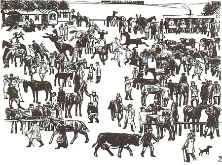 Jeho dřevoryt zachyil koňský trh v Kötztingu, tradičně konaný o svatodušní sobotě