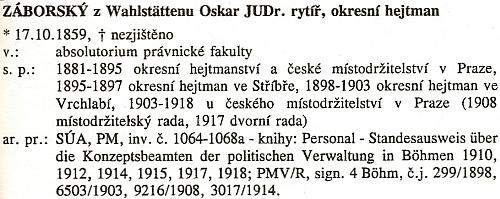 Otcova data v českém slovníku představitelů státní správy