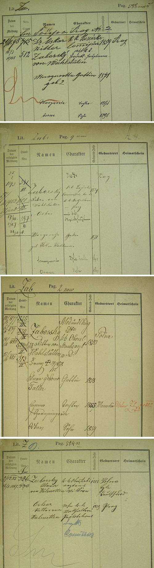 """Pražské policejní přihlášky jeho otce, ta druhá i s uvedením rodného příjmení matčina, tj. Flek von Flakhausen"""", jeho děda, vojenského lékaře Franze Zaborskyho von Wahlstätten (1810-1878), rodáka z Polné a jeho babičky Klary, roz. Tatlerové"""