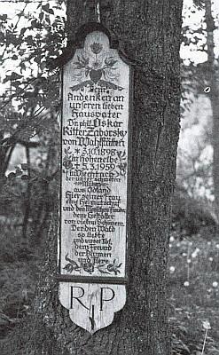 Umrlčí prkno v Leckern u Kötztingu na jeho památku
