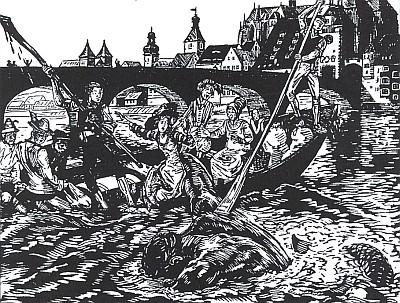 Dvě jeho ilustrace k bavorským pověstem z dunajského Řezna a ze Šumavy