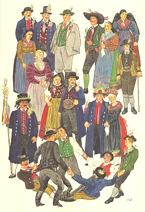 Šumavská svatba na ilustraci, jím samým signované, zjeho knihy