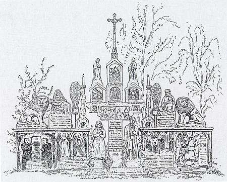 """Velký žulový selský náhrobek v Baierweg u Viechtachu, """"jeden z nejoriginálnějších výtvorů lidového umění"""", na jím signované kresbě"""