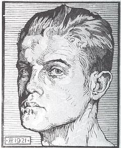 Autoportrét na dřevorytu z roku 1921