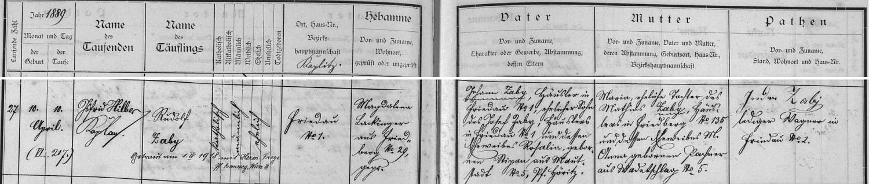 Záznam frymburské křestní matriky o jeho narození s pozdějším přípisem o vídeňské svatbě 1. dubna 1918 s Hermine Freynovou