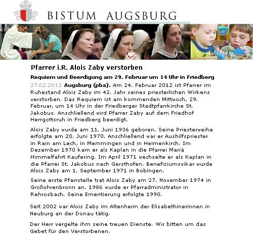 Nekrolog na webových stránkách biskupství v Augsburgu