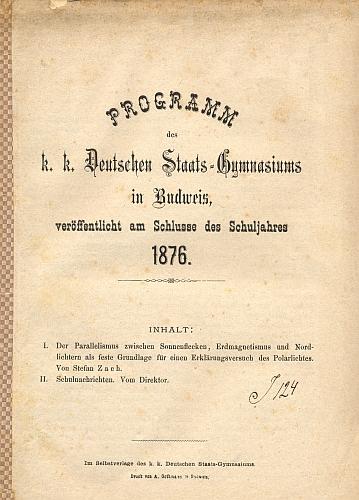 Titulní list výroční zprávy německého státního gymnázia v Budějovicích z roku 1876 s jeho pojednáním o polární záři
