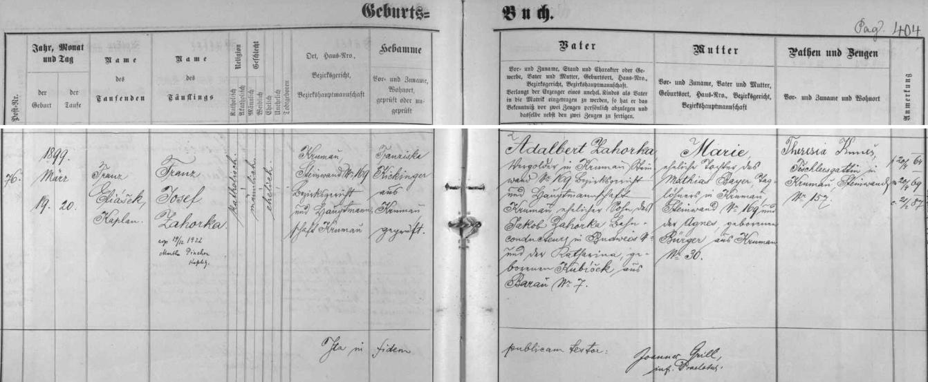 Záznam českokrumlovské křestní matriky o narození otcově