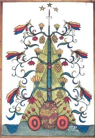 Strom života Ngaju z jeho knihy o kmenové kultuře Dajáků na indonéském Borneu