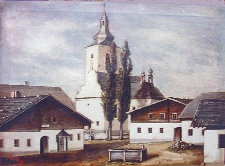 """Ten vzácný obraz malíře Pinskera """"ze starého příbuzenstva"""", zachycující někdejší Volary ještě před velkým požárem v roce 1863, mi Herwig Zahorka poslal z Indonésie v půli dubna roku 2011 svelikonočním pozdravem"""