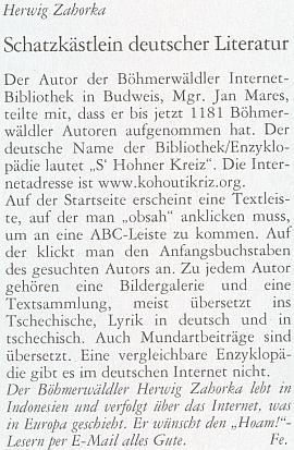 """Příspěvek Herwiga Zahorky do krajanského časopisu z února 2011 uvádí o Kohoutím kříži, že """"srovnatelná encyklopedie na německém internetu neexistuje"""" a podává čtenáři i návod, jak """"kliknout"""""""