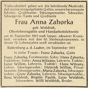 Parte babiččino na stránkách krajanského měsíčníku v listopadu roku 1951