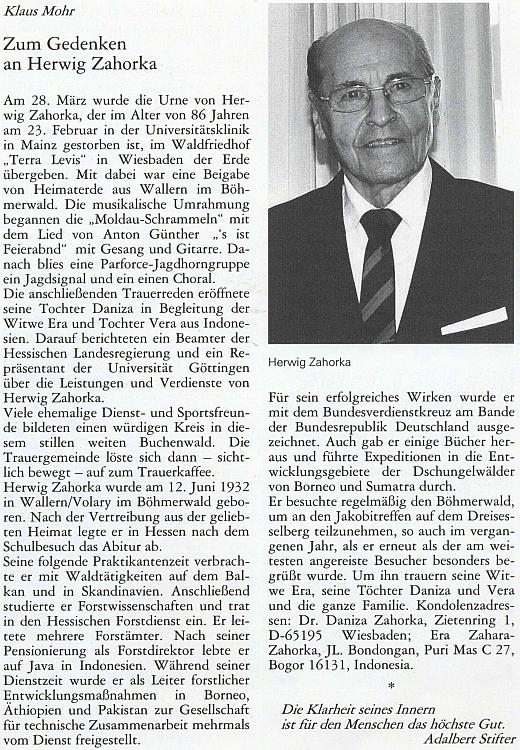 Nekrolog Herwiga Zahorky do krajanského časopisu napsal Klaus Mohr, pilný korespondent Kohoutího kříže